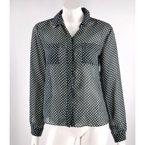 Topshop Top Size 8 Green Black Button Up Sheer